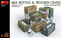 MILK BOTTLES & WOODEN CRATES - Image 1
