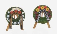 Funeral wreaths with easels