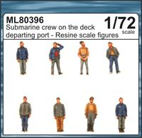 Submarine crew on the deck departing port
