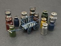 Milk Cans with Small Cart