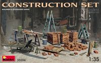 Construction Set Kit Ladders, Table, Buckets, Bricks, Cart, Anvil, Beams, Jack Stand & Tools