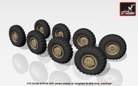 BTR-80 APC wheels w/ weighted tires KI-80N