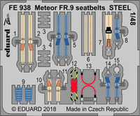 Meteor FR.9 seatbelts STEEL  AIRFIX