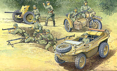 German Schwimmwagen, Howitzer, BMW Motorcycle w/Sidecar and Soldier - Image 1
