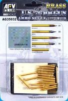 US 76mm Brass ammo set. Includes M42A1, M93, M62A1, M79 and Cartridge (4 of each) plus decal